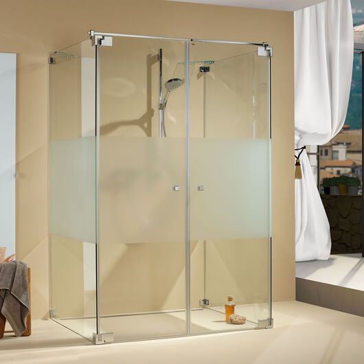 Omega shower, doors closed, frontal view
