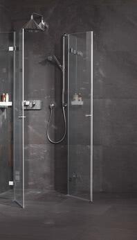 Dusche Fortuna Eckvariante im New Loft Style, Tür geöffnet