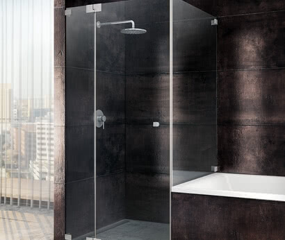 Omega shower, side access, with bathtub connection