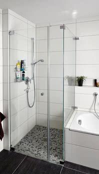 Dusche Omega mit Badewannenanschluss und Wandwinkel