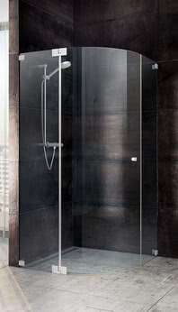 Dusche Omega Modell Viertelkreis, eintürig mit Wandwinkeln