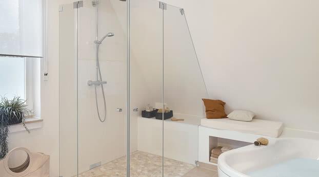 Omega shower custom design with sloping roof