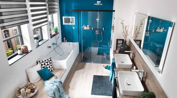 Dusche Tansa Türe geöffnet, Modell Badewannenadaption, eintürig mit Smart-Line Spiegel