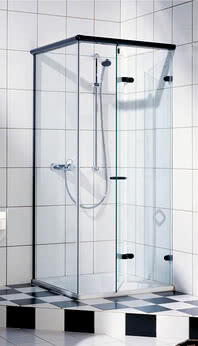 Onyx shower with open, foldable door