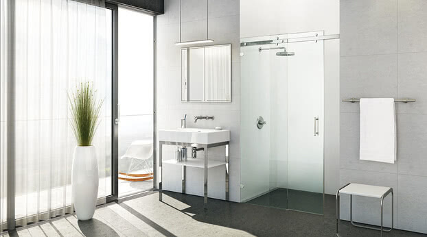 Opalin S shower, niche model with open door