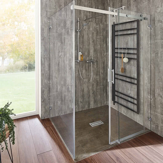 Opalin S shower with HPL rear panel, door open