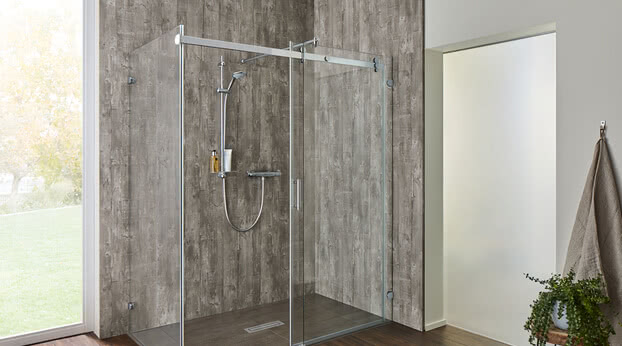 Opalin S shower with System Basic rear panel and open sliding door