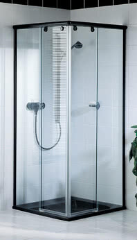Topas shower, partially framed, in special finish with black hinges