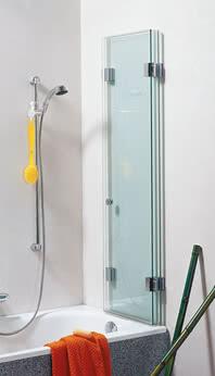 Faltbarer Badewannenaufsatz Glasdusche XXL, Glas zusammengeklappt
