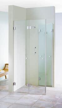 XXL Dusche Eckeinstieg zweiteilige Tür einseitig geöffnet