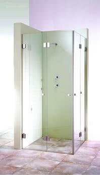 XXL Dusche Eckeinstieg zweiteilige Tür geschlossen