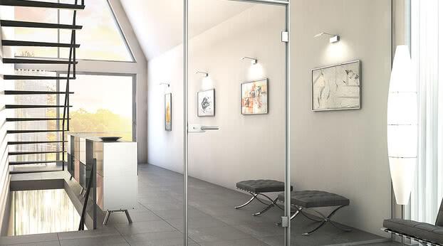Aluminium block frame profile Aluzarge 100 as a vestibule in a staircase
