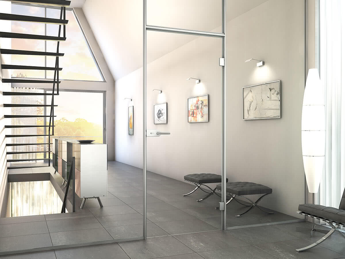 Aluzarge 100 by Sprinz as a partition in a staircase
