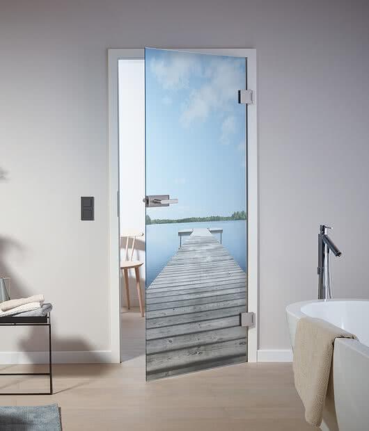 Glass door with motif