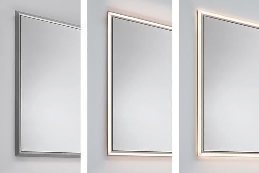 Abdeckrahmen mit LED-Beleuchtung rahmen den Spiegel in ein wunderschönes Licht.