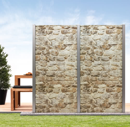 Privacy Screen System Premium with Stone Wall Motif