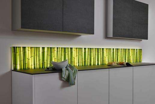 SPRINZ Küchenrückwand mit Beleuchtung in Kombination mit einem Motivdruck