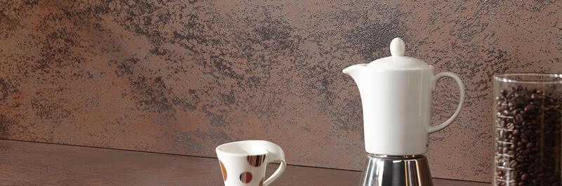 SPRINZ Porzellankeramik Arbeitsplatte Rueckwand OxidMoro Kaffekanne web