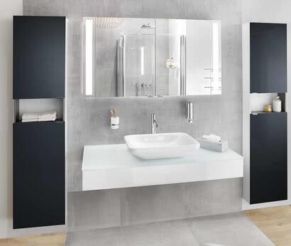 SPRINZ Badmöbel Modern-Unit mit Spiegelschrank Silver-Line