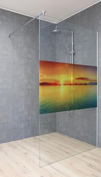 Walk-in Dusche ColorStar mit Motiv Sonnenaufgang am Meer, außen