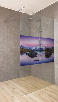 Walk-in Dusche ColorStar mit Motiv Matterhorn am Stellisee, außen
