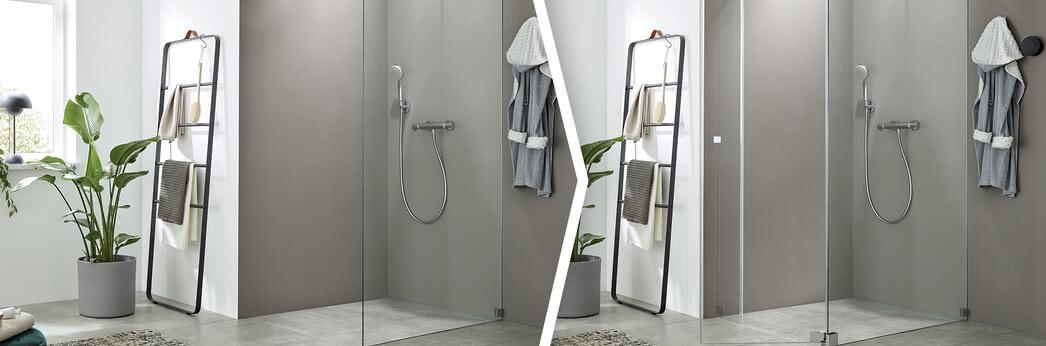 Von der Walk-in Dusche zu einer Dusche mit Pendeltür mit dem Nachrüstset Walk-in Plus