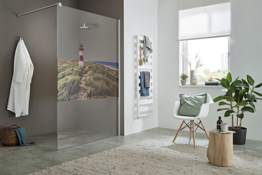 Walk-in shower ColorStar, motif Afterglow on the island of Sylt