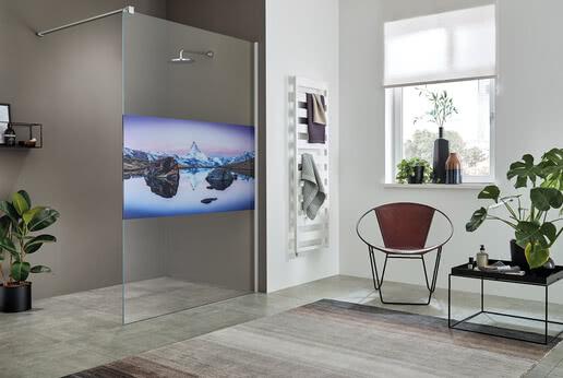 Walk-in shower ColorStar, motif Matterhorn at Stellisee
