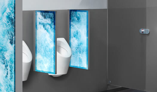 Urinal partition with LED