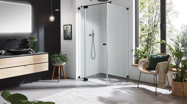 Omega Black Edition shower with open door
