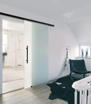 Motion 1300 sliding glass door with black fittings