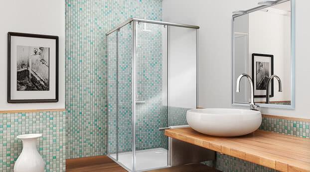Dusche Topas teilgerahmt als Eckeinstieg