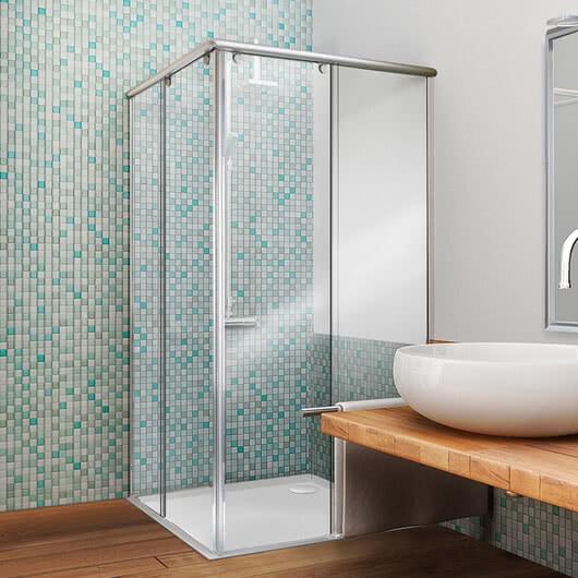 Topas shower model, corner access