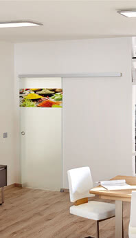 Glass door to match the kitchen rear wall