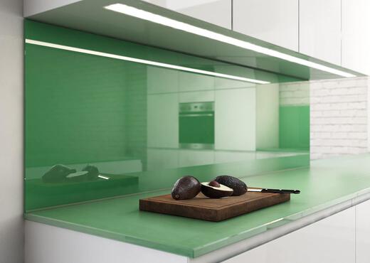 SPRINZ Kuechenrueckwand Glas gruen TextBild zentriert 2 Bilder