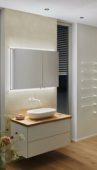 Modern-Line mirror cabinet with Taly LED cover frame
