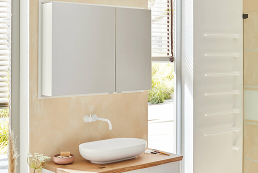 Modern-Line mirror cabinet with white exterior