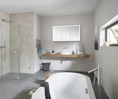 SPRINZ Elegant-Line 2.0 mirror cabinet and glass shower Granat