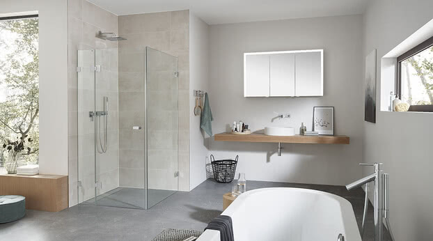 Granat glass shower in combination with the Elegant-Line 2.0 mirror cabinet
