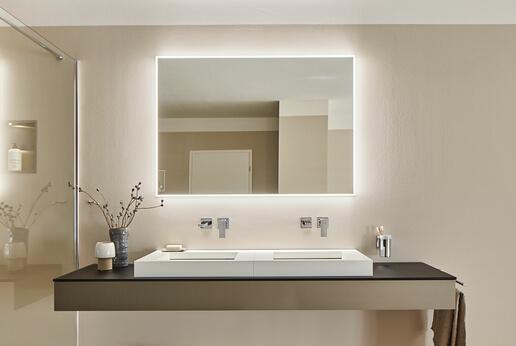 SPRINZ Badspiegel Smart-Line 4.0 in eckig mit umlaufendem LED-Band