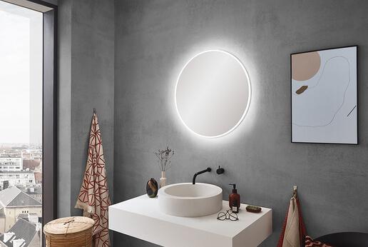 SPRINZ Badspiegel Smart-Line 4.0 in rund mit umlaufendem LED-Band