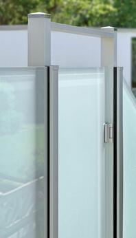 Detail of the post system Premium revolving door between fixed elements and revolving door